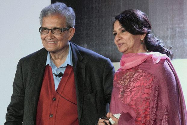 Nobel laureate Amartya Sen and veteran actress Sharmila Tagore at the Kolkata Literary meet 2013 on Sunday. Sen said that he felt particularly upset with the Left parties protesting on issues such as cooking gas, electricity prices and 'aam aadmi' pursuits rather than the broader picture. Photo: PTI
