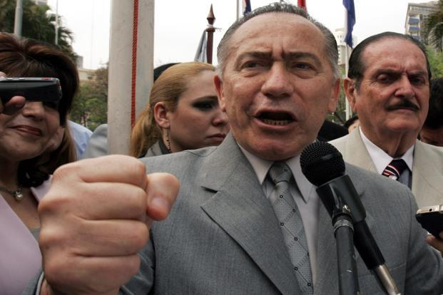 A file photo of Lino Oviedo, who was running for the conservative UNACE party, was one of the three top candidates in the 21 April presidential election. Oviedo, 69, died with his bodyguard and pilot when the aircraft crashed en route to Asuncion while they were returning late Saturday from a campaign rally in northern Paraguay, the officials said.