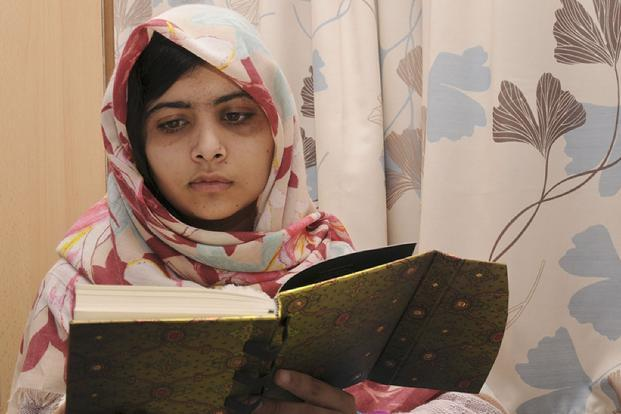 A file photo of Malala Yousafzai at the Queen Elizabeth Hospital in Birmingham in central England. The hospital said the 15-year-old had undergone two operations on Saturday to insert a titanium plate into her skull and fit an electronic device in her ear. Photo: AFP