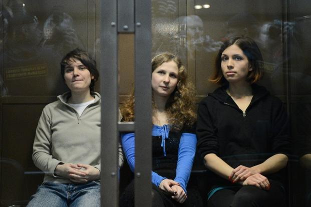 Members of Pussy Riot (in picture), a Russian punk-rock band, were arrested in Moscow with charges of hooliganism and religious hatred for their video <i>Punk Prayer - Mother of God, Chase Putin Away!</i> AFP