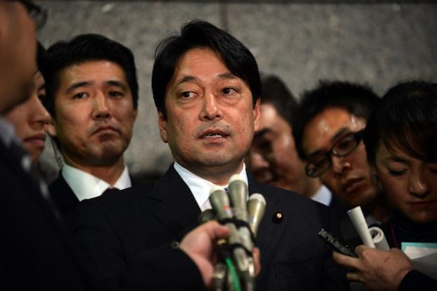 Japanese defence minister Itsunori Onodera speaks to reporters at the Defense Ministry in Tokyo on Tuesday. Photo: Yoshikazu Tsuno/ AFP