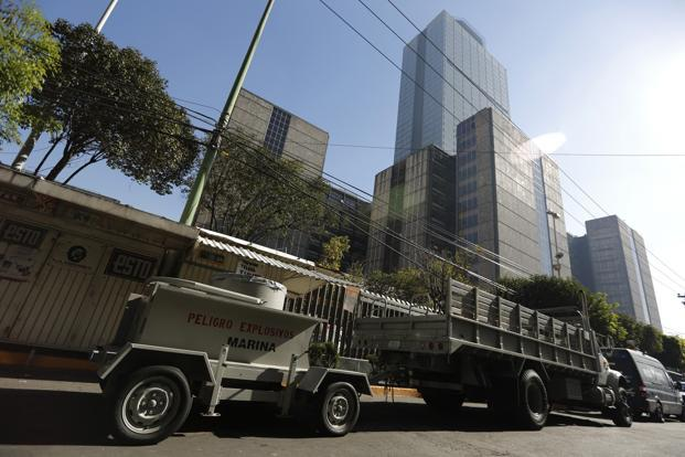 A Navy bomb disposal trailer outside the headquarters of state-owned oil giant Pemex in Mexico City on Saturday. Photo: Reuters