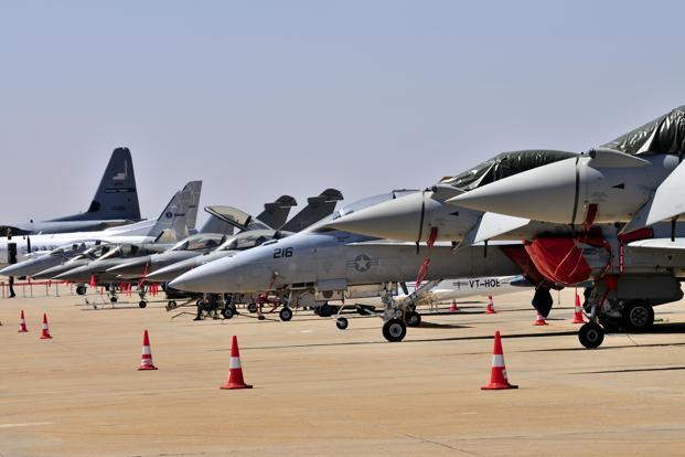 The 2011 edition of the biennial exhibition was focused on candidates for the $11 billion contract for medium multirole combat aircraft. In 2012, India selected the Rafale fighter jet, made by France's Dassault Aviation, for modernization of the Indian airforce. Photo: Aniruddha Chowdhury/Mint