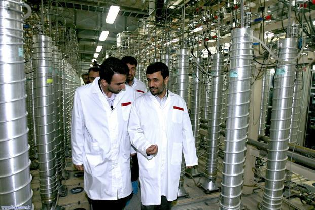 A file photo of Iranian President Mahmoud Ahmadinejad visiting the Natanz nuclear site.