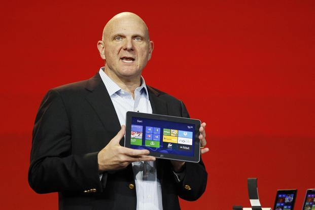 Microsoft CEO Steve Ballmer displays the new Windows Surface tablet at the Qualcomm pre-show keynote at the Consumer Electronics Show (CES) in Las Vegas on Wednesday. Photo: Reuters