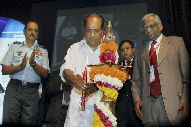 Union minister for defence A.K. Antony lighting the traditional lamp to inaugurate the Aero India 2013 in Bengaluru on Tuesday. Photo: PTI