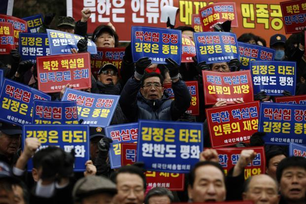 Activists during a rally against North Korea's possible nuclear test plan in central Seoul on Wednesday. Pyongyang has vowed to conduct its third nuclear test. Photo: Kim Hong-Ji/ Reuters