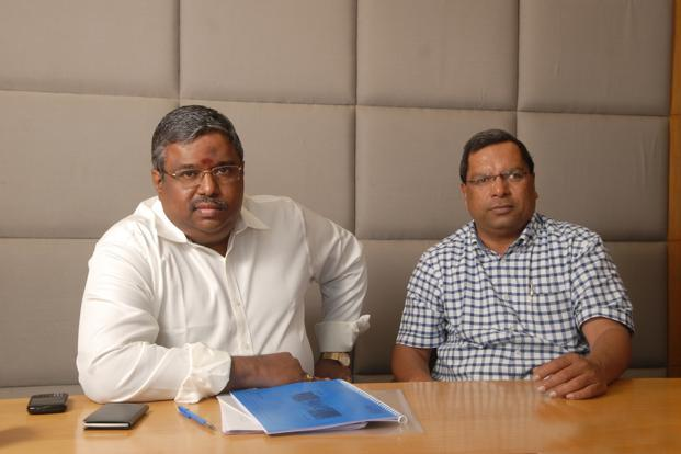 SKS Microfinance's chief financial officer S. Dilli Raj (left) and CEO and managing director M.R. Rao. Photo: Hemant Mishra/Mint
