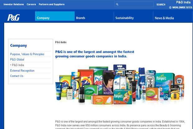 A photo grab of P&G website. The company's feminine care segment grew 45% during the quarter, while growth in personal health care stood at 19%