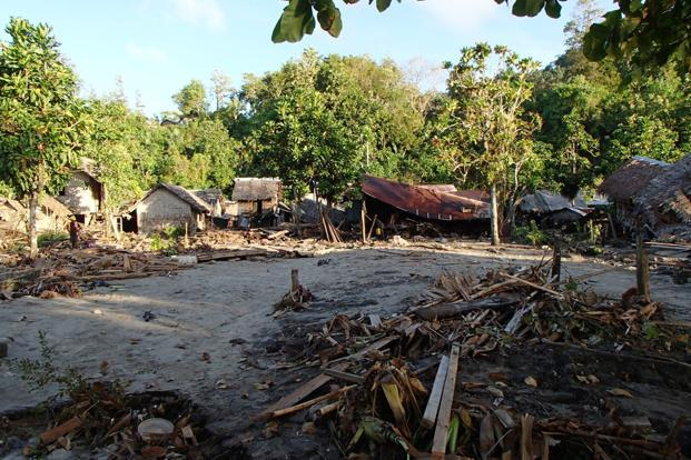 The destroyed Venga village following a Tsunami on Wednesday in Temotu province, Solomon Islands. Photo: AP