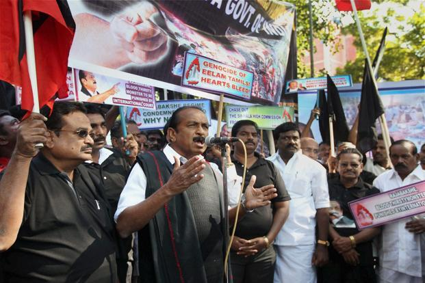 MDMK leader Vaiko addresses party workers during a protest against Sri Lankan President Mahinda Rajapaksa's forthcoming visit to India, at Jantar Mantar in New Delhi on Friday. Photo: PTI