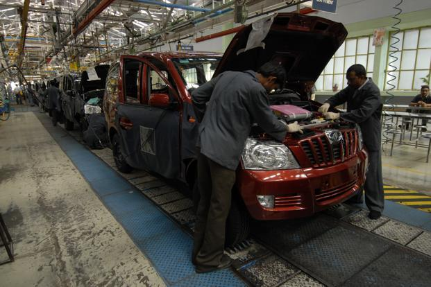 A file photo of a Mahindra and Mahindra assembly line. Photo: Abhijit Bhatlekar/Mint