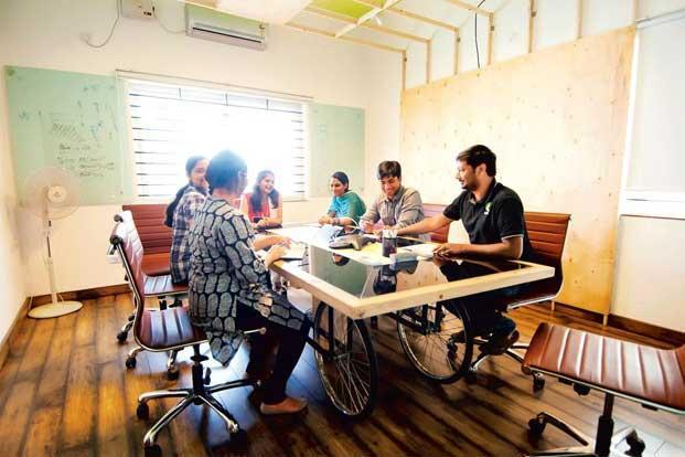 The cart-turned-conference table at Qyuki is an innovation that came out of trying to work within a budget. Photo: Aniruddha Chowdhury/Mint.