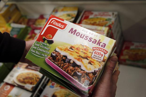 View of Findus Beef Moussaka packs being removed from sale of a local shop in Ville d'Avray, outside Paris. Photo: AP
