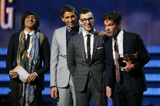 Nate Ruess (extreme right) and Fun accept the Grammy award for song of the year for 'We Are Young' at the 55th annual Grammy Awards in Los Angeles, California on 10 February. Photo: Reuters