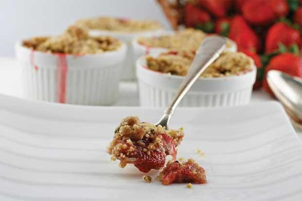 Strawberry Cobbler with Almond Crust.