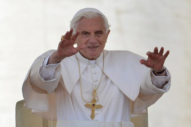 Pope Benedict XVI will go on to celebrate an Ash Wednesday mass in St. Peter's Basilica at 7.30pm, his last public mass and one of his last engagements as pope. Photo: AFP
