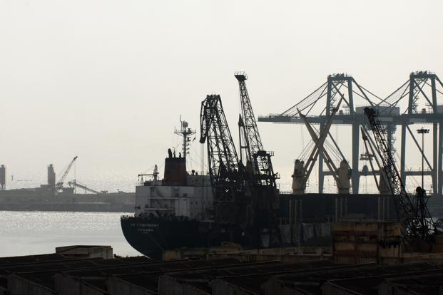 A file photo of the Chennai port. Chennai, India's third biggest container port, has two container terminals, run separately by DP World Ltd and PSA International Pte Ltd. DP World and PSA charge customers about `3,350 for handling a loaded standard container. Photo: Hemant Mishra/Mint