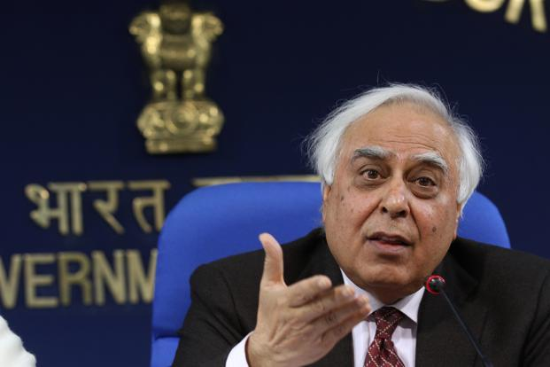 A file photo of Telecom and IT minister Kapil Sibal. Photo: Hindustan Times