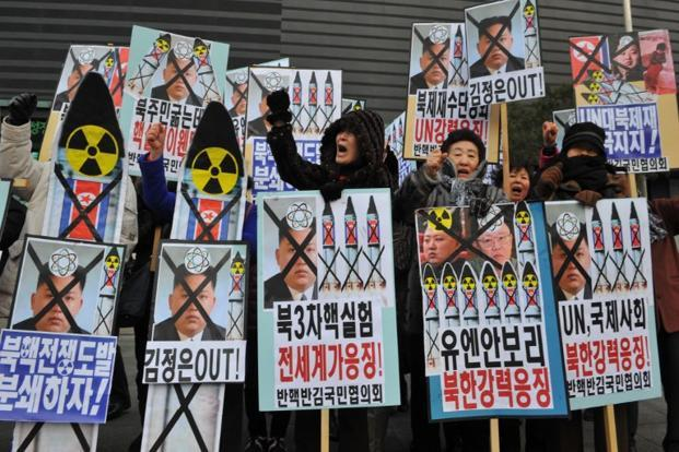 Activists from an anti-North Korea civic group protest against the North Korean nuclear test in Seoul on Tuesday. Photo: Kim Jae-Hwan/ AFP