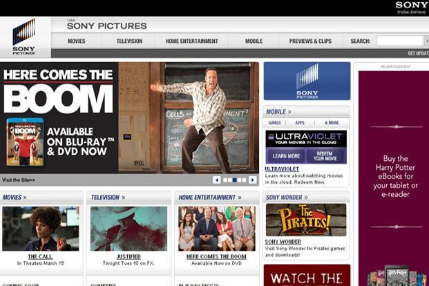 A screen grab of Sony Pictures website.