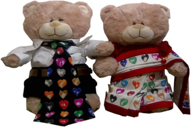 Here's a sure-shot way to creep out your date. Teddy Bears dressed by Satya Paul, Manav Gangwani, Rohit Bal, Suneet Varma, Rohit Gandhi & Rahul Khanna and Abraham & Thakore. Available at DLF Emporio mall, New Delhi, at Rs 5,000 for the pair.