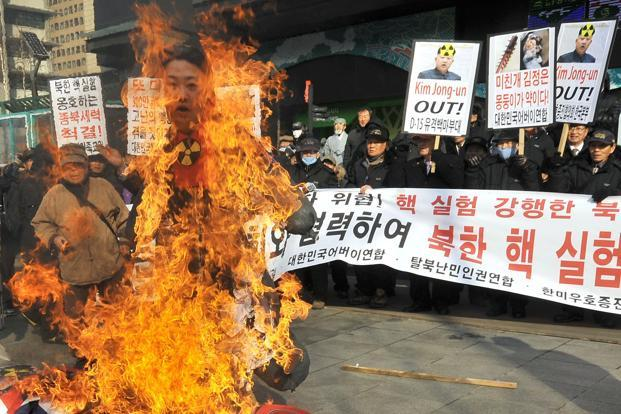 South Korean activists burn an effigy of North Korean leader Kim Jong-Un during a rally denouncing North Korea's nuclear test, in Seoul, on Wednesday. Photo: AFP