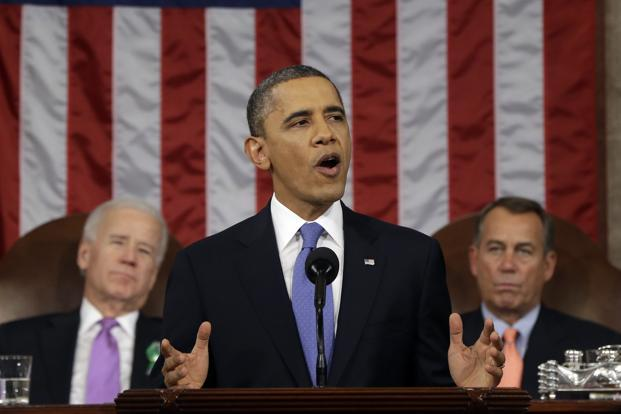 US President Barack Obama gives his state of the union address during a joint session of Congress in Capitol Hill, Washington, on 12 February. Photo: AP