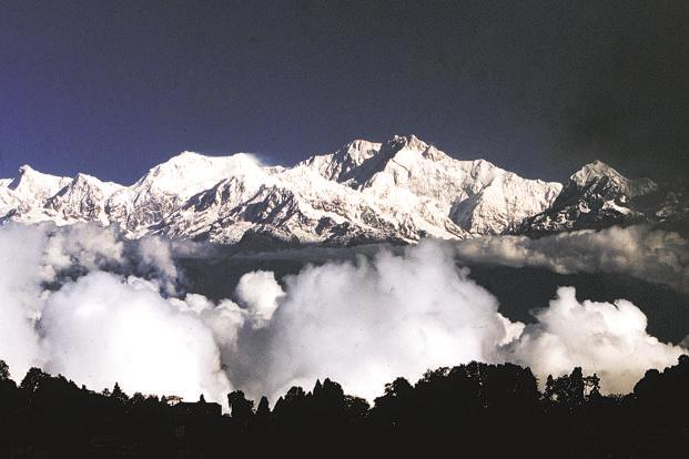 An image of the Kanchenjunga massif. Dilwali says this photograph is so similar to a Roerich painting that it seems they could have been standing side-by-side while the former photographed and the latter painted.