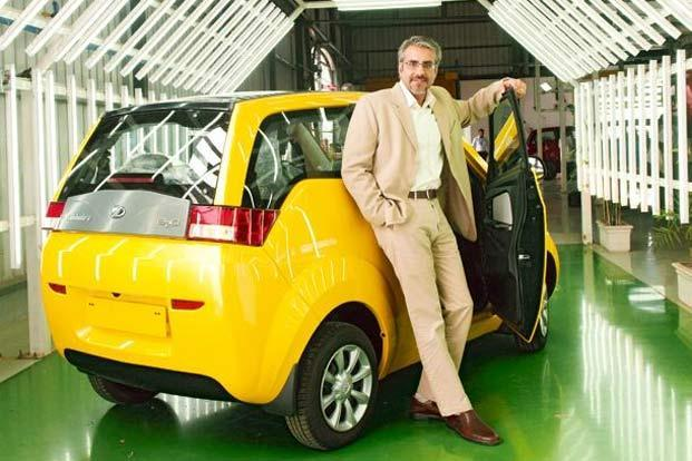 Chetan Maini,  Reva founder and now  Mahindra Reva's chief  of technology and  strategy,  with the  E2O. Photo: Aniruddha Chowdhury/Mint