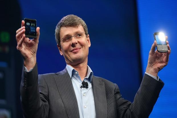 A file photo of Thorsten Heins at the BB10 launch. Heins said that BlackBerry will invest heavily in its vision of mobile computing. Photo: Mario Tama/ AFP