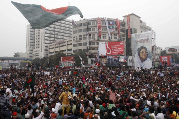 Bangladeshi activists attend the funeral procession of blogger Rajib Haider in Dhaka. Photo: AP