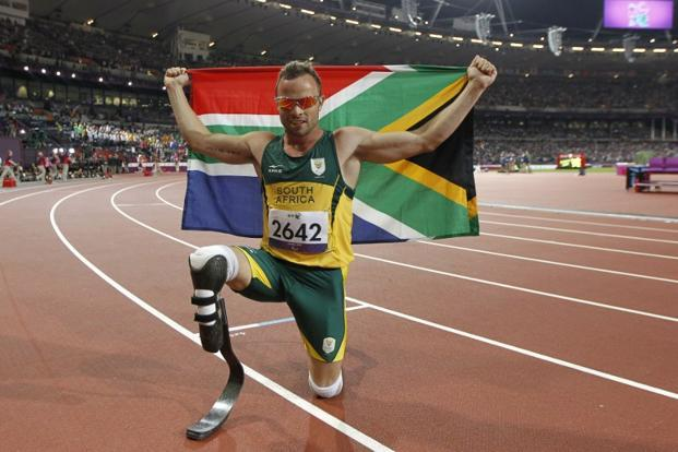 File photo of Oscar Pistorius after winning gold in the men's 400m - T44 final at the London 2012 Paralympic Games at the Olympic Stadium in east London on 8 September 2012. Photo: Ian Kington/AFP