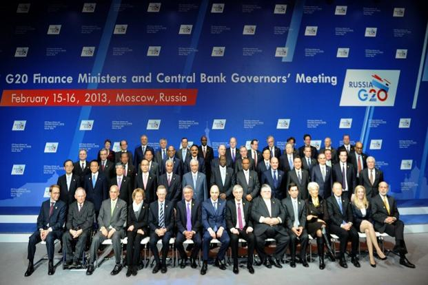 Finance ministers of the Group of Twenty (G20) countries and heads of central banks at the G20 meeting in Moscow on Saturday. Photo: Yuri Kadobnov/AFP