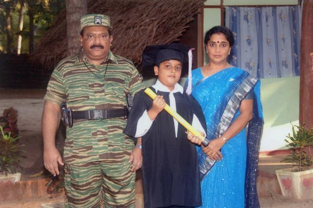 A file photo of LTTE leader Velupillai Prabhakaran (Left) and his wife Mathivathani (Right) with their son Balachandran at an undisclosed location. Photo: AFP
