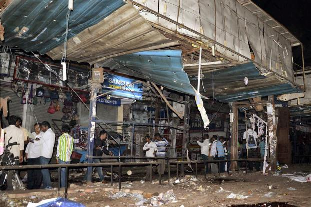 The blasts took place outside the Venkatadri and Konark movie theatres in Dilsukh Nagar at 7.10pm on Thursday. Photo: PTI