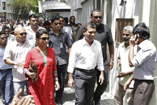 A file photo of Mohamed Nasheed at the Indian embassy in Male. Photo: AFP