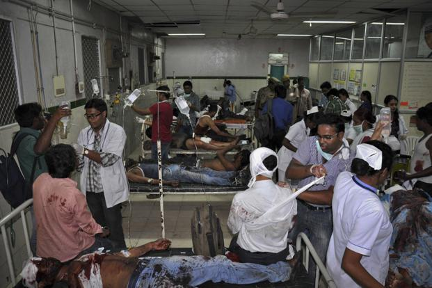 Most of those injured during the bomb blasts were rushed to the nearby Osmania General Hospital. Reuters