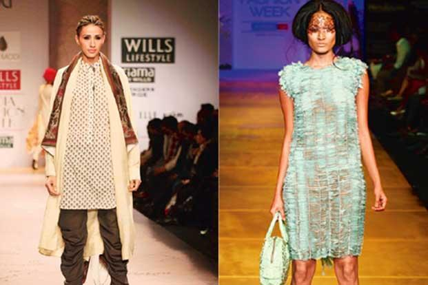 A tunic from Anju Modi's Autumn/Winter 2012 line (left) and a tunic worn as a dress, from Sanchita Ajjampur's Spring/Summer 2013 collection.