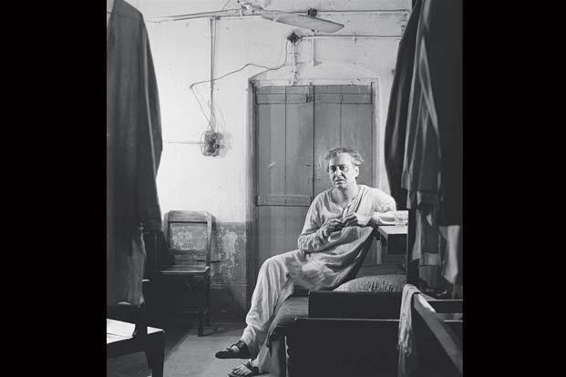 Actor Soumitra Chatterjee in his dressing room in a Calcutta theatre, 1982