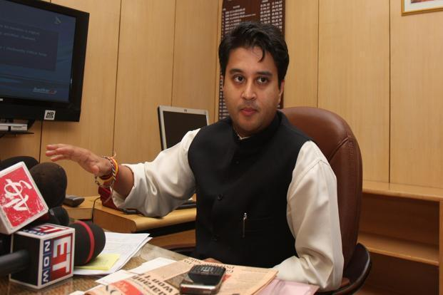 Jyotiraditya Scindia, minister of state for power with independent charge. The power ministry proposed the signing of PPAs to ensure that power generation companies that are allotted coal blocks do not profiteer by selling the so-called merchant power at high market prices. Photo: HT