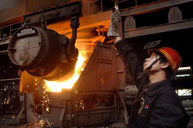Global crude steel output in January rose by a measly 0.8%. Photo: AFP