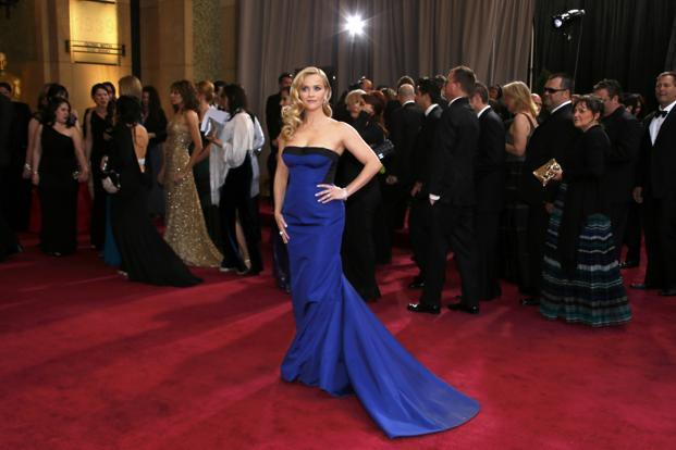 Reese Witherspoon in a black and royal blue LouisVuitton. Reuters