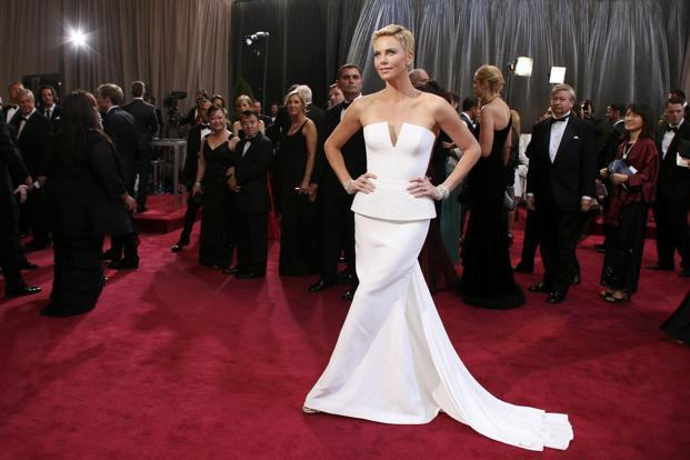 Stunning Charlize Theron in an equally-stunning white Dior Haute Couture column gown. Reuters