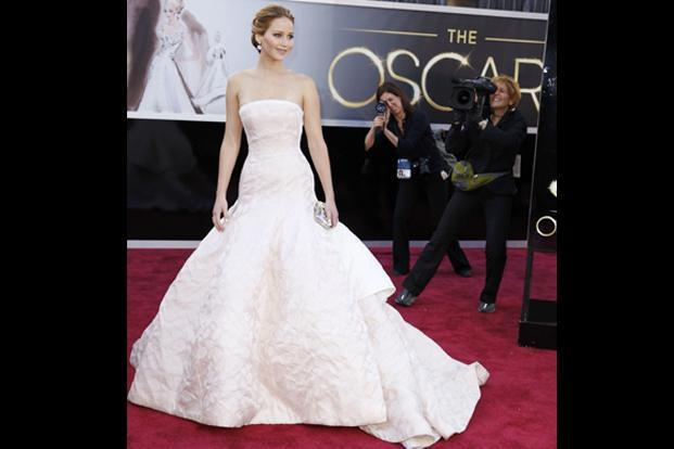 Jennifer Lawrence in another white Dior Couture gown. AFP