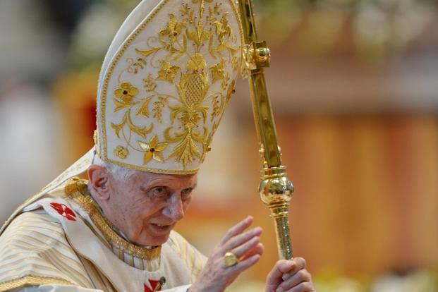 "Pope Benedict XVI succeeded the long-reigning and popular John Paul II in April 2005 aged 78 after serving for nearly a quarter-century as the Church's chief doctrinal enforcer, earning himself the nickname ""God's Rottweiler"". Photo: AFP"