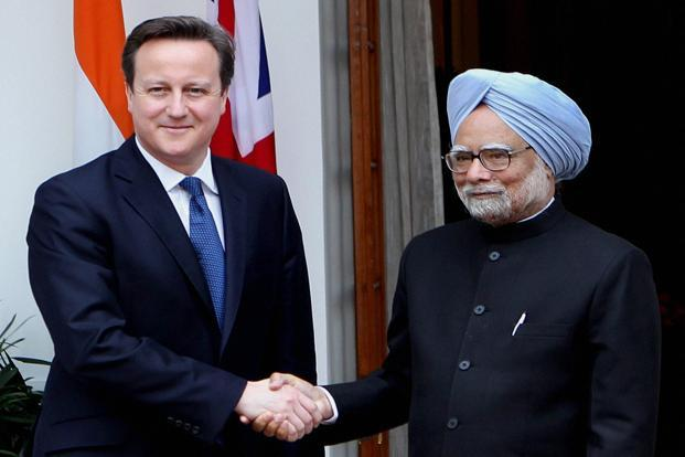 Indian Prime Minister Manmohan Singh with his British counterpart David Cameron in New Delhi during Cameron's recent visit. Photo: Manvender Vashist/PTI