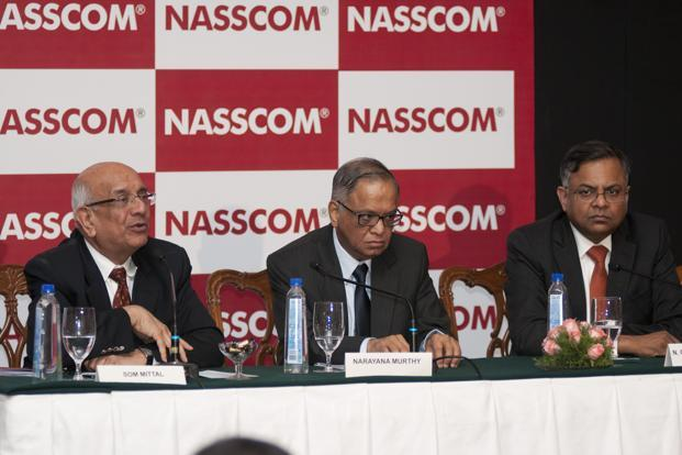 Nasscom president Som Mittal, Infosys co-founder N.R. Narayana Murthy and Nasscom chairman and TCS chief executive officer N. Chandrasekaran at a Nasscom event in Bangalore on Monday. Photo: Aniruddha Chowdhury/Mint