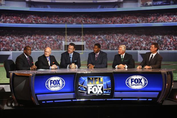members of the fox nfl sunday broadcast team appear during a presentation to announce fox s new