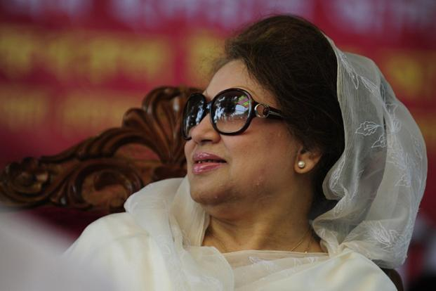 When President Pranab Mukherjee visited Bangladesh earlier this week, its opposition leader Khaleda Zia (above) of the BNP did not meet him, because of public strikes that her ally, Jamaat-i-Islami, has been calling to protest the verdicts of the Bangladesh International Crimes Tribunal. Photo: AFP